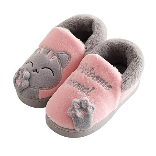 Cute Katze Hausschuhe Kinder Plüschhausschuhe Geschlossen Kuschelige Pantoffeln Home Hausschuh Weicher Boden Rutschfest Schlappen Indoor Plüsch Warm Baumwollschuhe