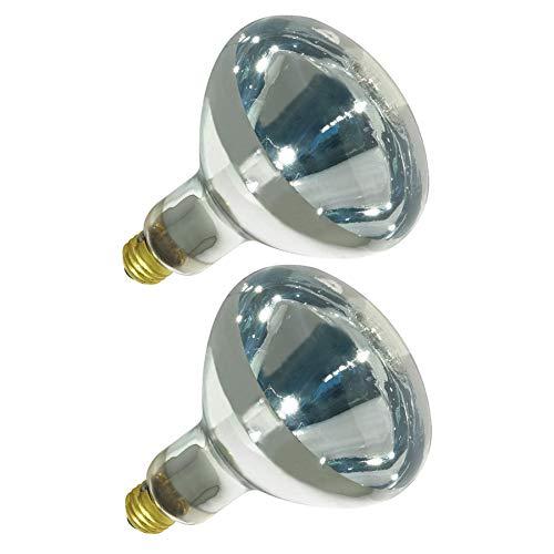 250R40/1 250-Watt, Incandescent R40 Reflector, Clear Head Lamp, Heat Flood Lamp Light Bulb, E26 Standard Medium Screw Base, 120V, 6,000 Hour Rated (Pack of 2-Clear-Heat Lamps)