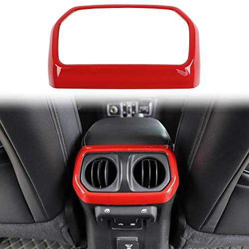 RT-TCZ Rear Back Seat Air Vents Decor Trim Cover Air-Condition Vent Cover ABS Panel Trim Frame Bezel for Jeep Wrangler 2018-2021 JL JLU Sport X Sahara Rubicon Red