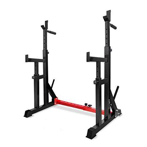 Yes4All Multi-Function Barbell Squat Rack – Sturdy Bench Press Equipment with 550lbs Weight Capacity for Strength Training and Home Gym (Premium - Black/Red)