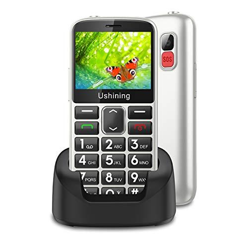 Telefono Moviles para Mayores, Ukuu 3G Telefono Inalambrico 2,31' Pulgadas Pantalla Tecla de Emergencia con |Botón SOS| |Cámara| |HAC| Fácil de Usar para Ancianos - Blanco