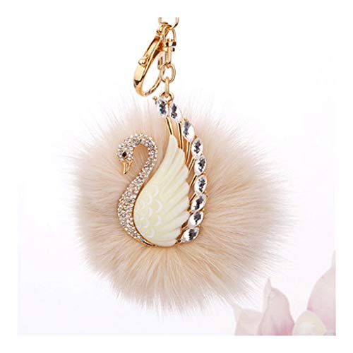 OP Key Chain Holder Fur Ball Keychain ,Studded with Synthetic Diamonds,Key Ring for Womens Keychain Accessory/Bag Cellphone Car Charm Pendant Keychain Wallet (Color : Beige)