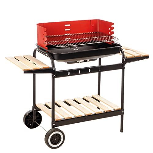 Enrico Coveri Barbecue Rettangolare A Carbone Multifunzione Con Struttura In Acciaio E Ripiani In Legno Per Giardino, Terrazzo E Balcone (Texas)