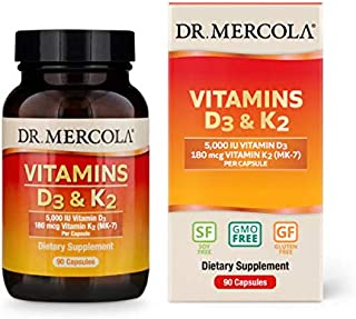 Dr. Mercola, Vitamins D3 and K2 Dietary Supplement, 90 Servings (90 Capsules), Supports Cardiovascular and Bone Health, Non GMO, Soy Free, Gluten Free