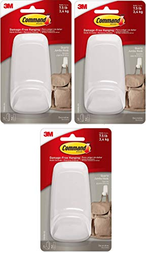Command Hook, 1 Hook, 2 Strips, Holds 7.5 lbs (17088Q-ES) Pack of 3