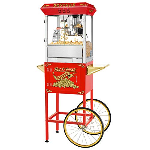 Great Deal! MISC Hot and Fresh Popper Machine with Cart (Red) Red Stainless Steel