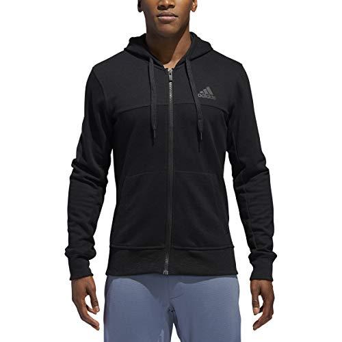 adidas Herren Essentials Fleece-Hoodie mit 3 Streifen, durchgehender Reißverschluss, Größe S, Schwarz/Schwarz