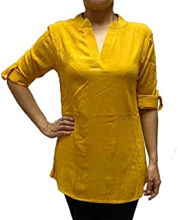 Veronica Long Sleeve Ladies Blouse Mustard Yellow