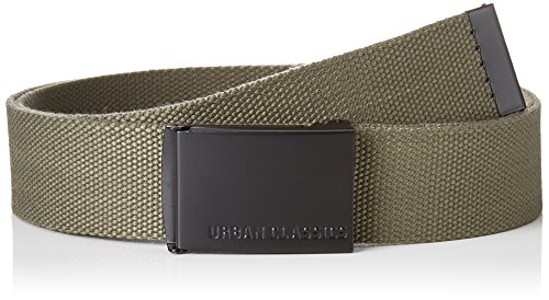 Urban Classics Unisex Canvas Belt Gürtel, Olive/Black, one size