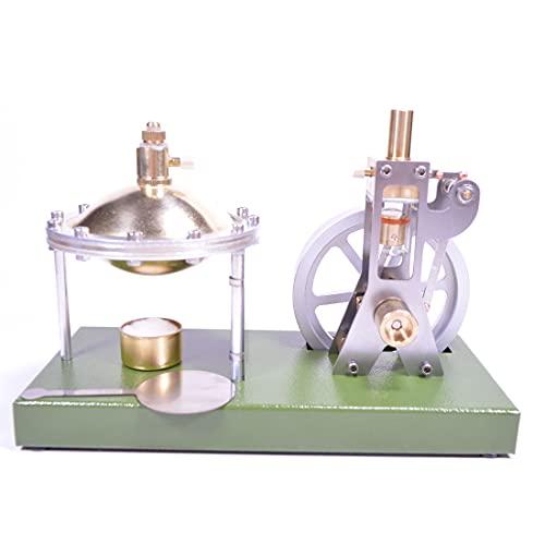 Morton3654Mam Máquina de vapor, modelo con caldera, diseño retro de metal, simulación vertical transparente, cilindro vertical, máquina de vapor, modelo física, ciencia, experimento, juguete