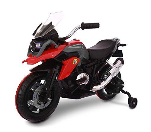 MEDIA WAVE store Moto da Corsa LT873 per Bambini Flower elettrica Rossa 12V con Seduta in Pelle