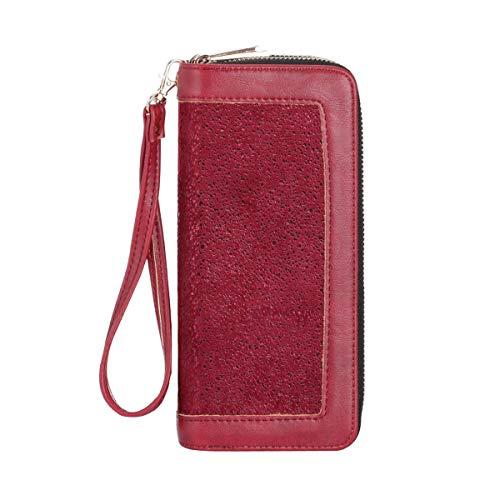 HAWEE RFID Bloqueo Cartera de Embrague Larga para Mujeres Carteras de Teléfono Móvil con Doble Cremallera Monedero con Múltiples Ranuras para Tarjetas de Crédito Moneda en Efectivo