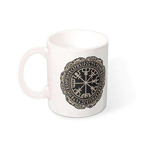 Relaxident Taza de café Viking Vegvisir de cerámica personal moderno de primera clase – Taza de té para el hogar blanco 330 ml