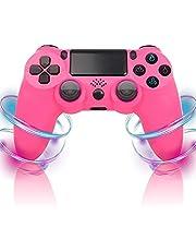 PS4コントローラー、Playstation 4 / Slim/Pro/PC用ワイヤレスコントローラーゲームパッドジョイスティック、タッチパッド高精度、6軸二重振動ショック付き (Color : Pink)