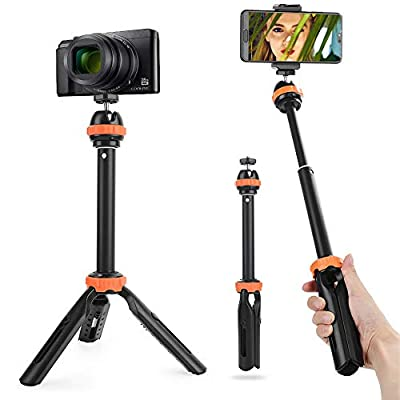 Fomito Extension Pole Tripod - Tabletop Holder Mini Selfie Stick Tripod Stand Handle Grip with Ball Head and Phone Clip for iPhone 11 Pro Max Samsung Huawei Smartphone for Sony RX100 Cameras from FOMITO