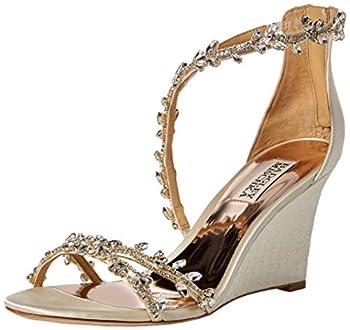 Badgley Mischka Women s Feather Wedge Sandal ivory satin 7 M US