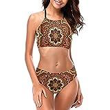 Bikini Halter Trajes de baño (camiseta de tanque+pantalones cortos) Trajes de baño con cuello redondo, 4 Art Classic Colorful Abstract Ethnic Floral Mandala, L