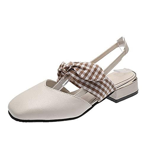 Zapatos de verano para mujer, sandalias con lazo al aire libre de tacón bajo, calzado para caminar diario con punta cuadrada, zapatos de playa destalonados