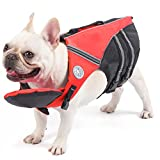 French Bulldog Life Jacket, Pet Life Vest, Dog Lifesaver Preserver with Handle & Reflective, for Swim, Pool, Beach, Boating