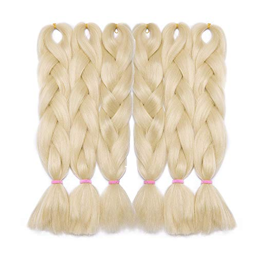 Trenzas de extensión para el cabello Trenza falsa Trenzas Kanekalon Trenzas Trenzas para el cabello Extensiones Fibras 600 g / 6 paquetes, 24 pulgadas / 60 cm # Rubio muy claro