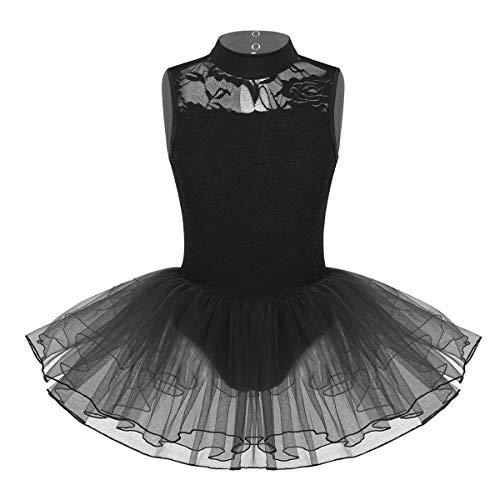 Yeahdor Vestido de Danza Ballet para Niña VestidoTutú Malla Maillot de Baile Lírico Encaje Ahuecado Body Ballet sin Manga Disfraz Bailarina Negro 6 Años