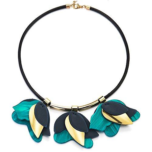 iMECTALII Fiore acrilico Glamorous Blu Gold Leaf nero del collare del Choker Bib Dichiarazione Collana, Party