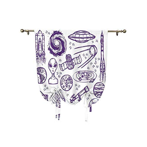 Outer Space Decor Tie Up Shades Panels,Minimalist Space Graphic Satellite Orbit Radar Saturn Telescope Space Thermal Insulated Blackout Curtain,31x47 Inch,for Kids Bedroom Blackout Curtains Purple Whi