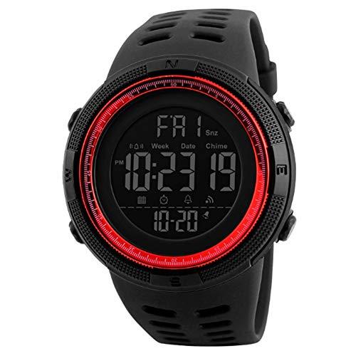 Reloj Deportivo Digital de Moda para Hombre, Resistente al Agua, Militar, cronómetro, Cuenta atrás, fácil de Leer, 1 Unidad, Color Rojo