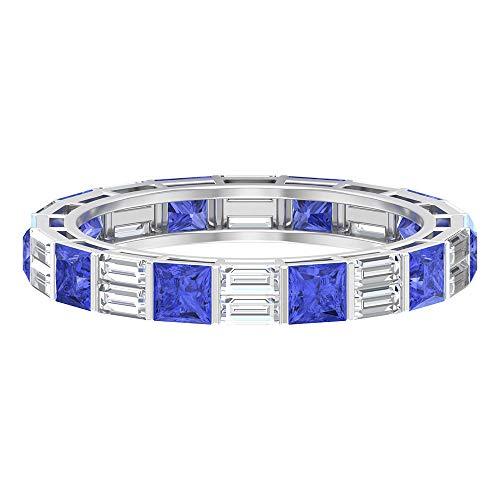 Rosec Jewels 14 quilates oro blanco talla princesa baguette-shape H-I Blue Diamond Tanzanite