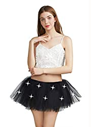 Black With Led Lights Tutu 5 Layered Party Dance Skirt