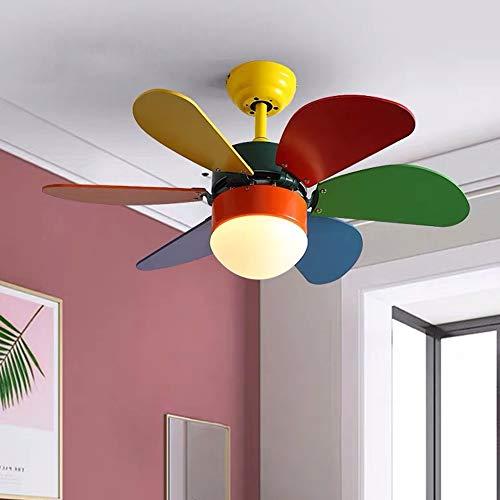 Yangmanini Luz De Ventilador Luz De Ventilador De Techo Habitación De Niños Lámpara De Comedor Dormitorio Creativo Lámpara De Ventilador Eléctrica Simple
