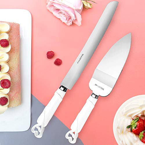 Shellkingdom Cake Knife Server Set,Cake Cutlery Knife and Shovel with Fashion Craft Baroque,Interlocking Hearts Design, Stainless Steel Silverware for Personalized Weddings, Birthday (white)