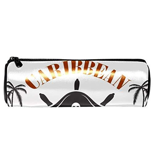 TIZORAX Bleistiftetuis Karibik Piraten Pen Bag Make-up Kosmetiktasche für Frauen Mädchen Jungen