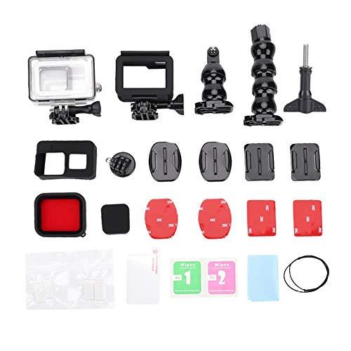 Mugast 32-in-1 Action Camera Accessoires, waterdichte behuizing + beschermframe + siliconen hoes + lensdop + verlengstuk + bevestigingsadapter voor Gopro 5 Sport