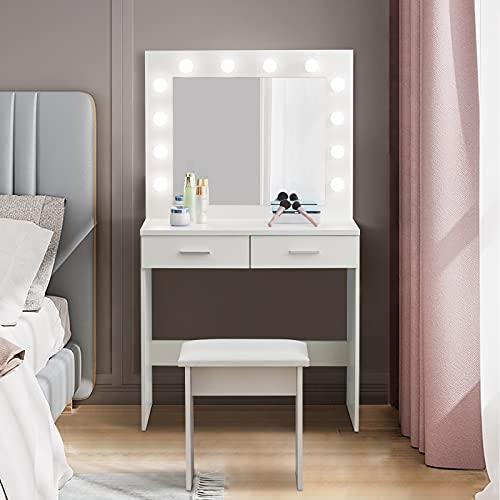 CLIPOP Mesa de Tocador con Iluminación LED Tocador con espejo y escritorio de maquillaje con 2 cajones y taburete blanco