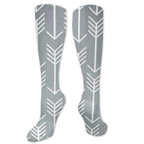 Gray and White Patterns Personalized Pattern Tall Socks for Men and Women Best Running Traveling Cycling Pregnancy Nurse Calf Tube Socks,Dress Socks Crew Socks 8.5 X 50 cm