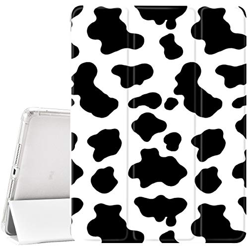 YCCY Girly Cow Printed Pad Case Cover for iPad Air 2 White Case White Black Cow Spotts Pattern Anti-Scratch Shockproof Lightweight Smart Trifold Stand Cover Soft TPU Cover for iPad Air 2