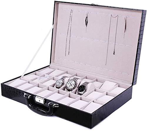 GJNVBDZSF Caja de Reloj, 24 Ranuras Caja de Almacenamiento de Reloj de Madera Maleta de exhibición Cuero de PU Adecuado para Hombre y Mujer