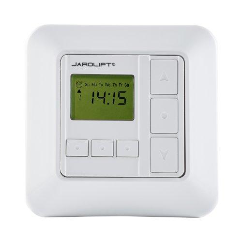 jarolift Zeitschaltuhr Sevenlogic Comfort Kabelgebundene Rollladensteuerung Timer Antrieb für Rollladen Markisen Jalousien, 8 Programmplätze, Tippbetrieb