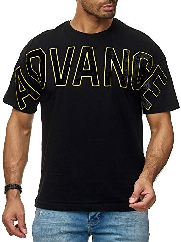 Red Bridge Herren T-Shirt Advance Velours Wide Cut Shirt Gym Männershirt Baumwolle M1298 Schwarz XL