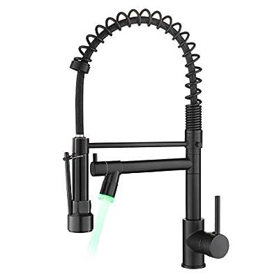 AIMADI Kitchen Faucet,Black Kitchen Faucet,Commercial kitchen faucet with sprayer Single Handle Single Hole Spring Kitchen Sink Faucet,Matte Black
