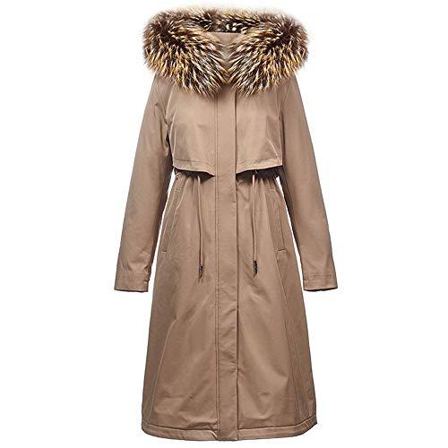 RTYUI Damska kurtka puchowa - pikowany płaszcz zimowy, długa kurtka damska, nieodpinany kołnierz futrzany, wodoodporny płaszcz przeciwdeszczowy, izolowany - kemping