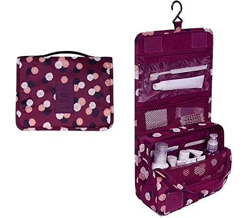 PoplarSun Imperméable à l'eau Portable Sac cosmétique Voyage Polyester Neceser Hanging Sac Neutre Wash Make Up Bag Organisateur de Bain Trousse de Toilette (Color : Wine Red Flowers)