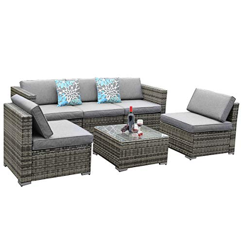 YITA HOME 6 Piece Outdoor Patio Furniture Sets, Garden Conversation Wicker Sofa Set, and Patio Sectional Furniture Sofa Set with Coffee Table and Cushion for Lawn, Backyard, and Poolside