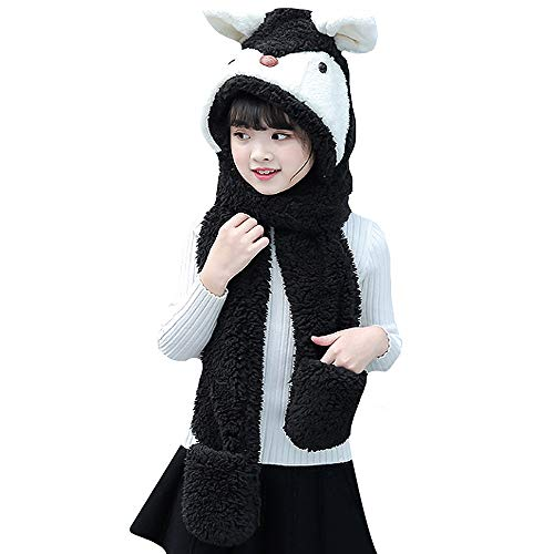 Girls  Childrens Kids Bunny Face Hooded Scarf  Winter Scarf Hat Gloves size 4-12