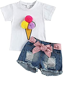 Toddler Kid Baby Girls Summer Clothes Set Short Sleeve Top T-Shirt Ripped Jeans Denim Shorts 2pcs Outfits 1-6Y  Blue White 2-3T