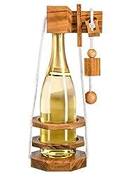 Zederello, Flaschenpuzzle für Champagner Sekt Wein, Flaschentresor, Flaschensafe aus Holz, für Sekt und Weinflasche, Wein Flaschenrätsel, Geschicklichkeitsspiel