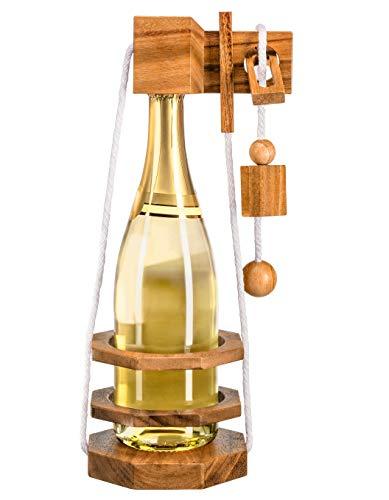 Zederello Puzle para Botellas de Madera Noble, para Vino, Vino espumoso y champaña, Juego de ingenio Envoltorio como Regalo, Rompecabezas, Enigma abrebotellas, acertijo
