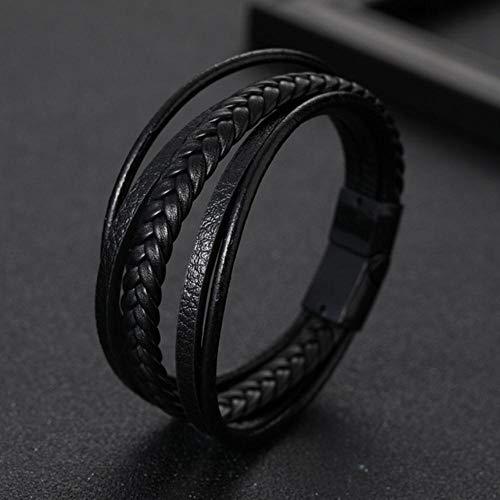 ASIG Heren Armband Voor Mannen Multilayer Zwart Leer Magnetische Armband Verjaardag