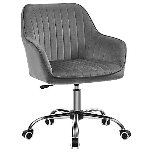 SONGMICS Bürostuhl, Drehstuhl mit Samtbezug, Schaumstoffpolsterung, höhenverstellbar, für Arbeitszimmer, Bar, hellgrau OBG012G01